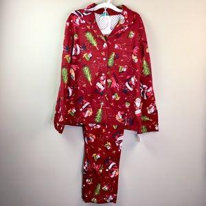 Vintage Santa Christmas Red  Flannel Pajama Set M